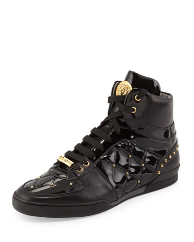 Patent Leather Studded High-Top Sneaker, Black/Gold