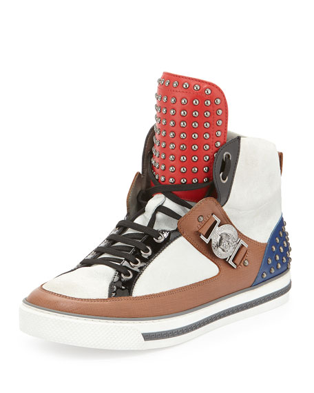 Versace Leather Studded High-Top Sneaker, Brown/White