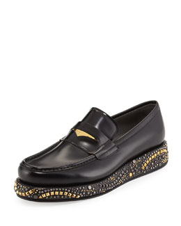 Studded Wedge Leather Loafer, Black/Gold