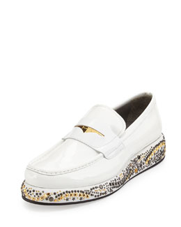 Studded Wedge Leather Loafer, White/Gold