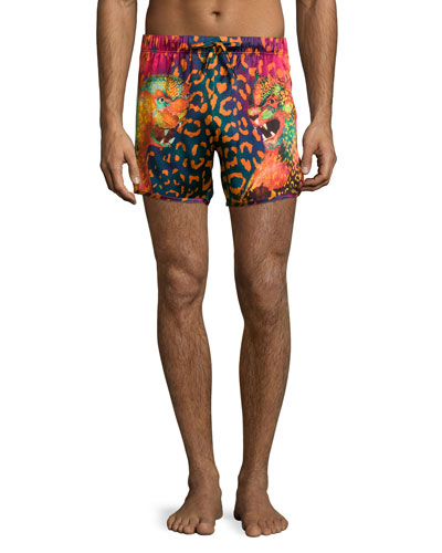 Animal-Print Swim Trunks, Black/Fuchsia