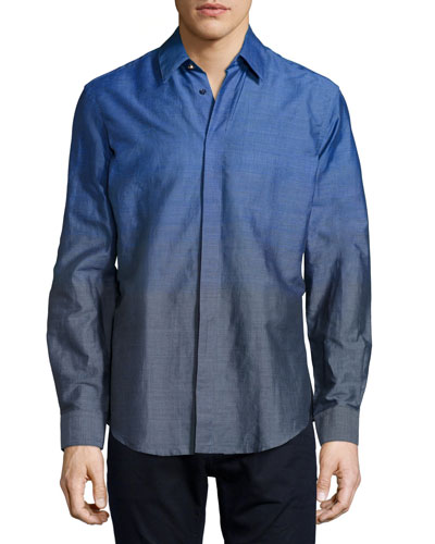 Ombre Dress Shirt, Blue/Gray
