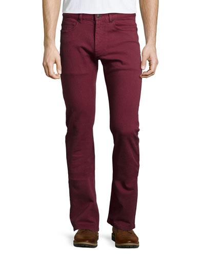 Straight-Leg Denim Jeans, Red