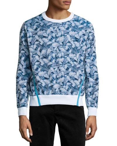 Crewneck Leaf-Print Pullover, Pelagic Blue Multi