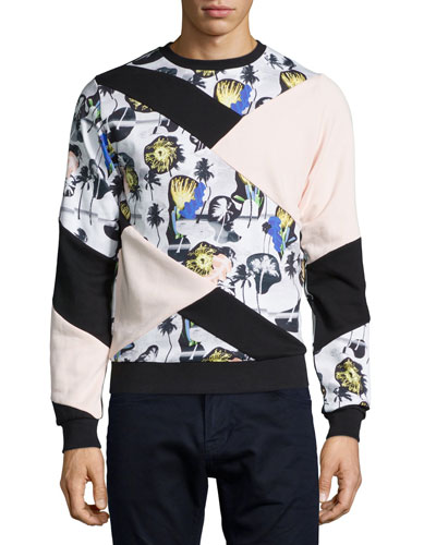 Crewneck Palm-Combo Sweatshirt, Blush Pink Multi