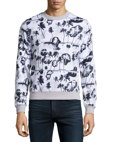 Crewneck Palm-Print Sweatshirt, Black Multi