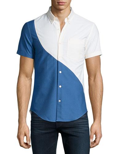 Kole Short-Sleeve Tide Shirt, Pale Yellow Multi