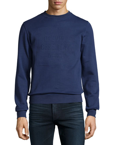 Crewneck Embossed-Logo Sweatshirt, Eclipse Blue