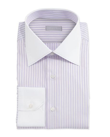 Stefano Ricci Contrast Collar Striped Dress Shirt White