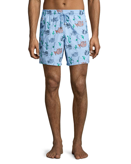 Vilebrequin Mistral Moonfish-Embroidered Swim Trunks, Blue