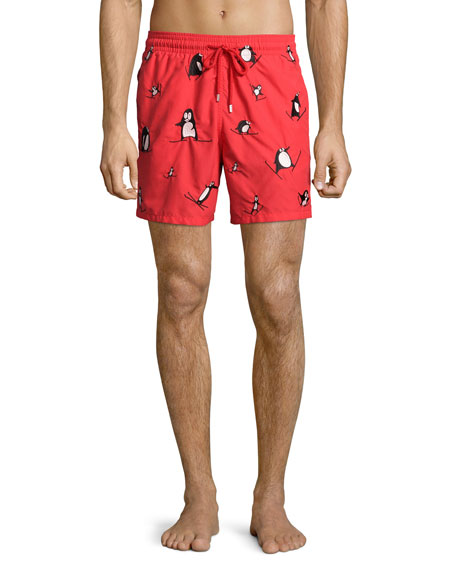 Vilebrequin Mistral Skiing-Penguin Embroidered Swim Trunks, Red
