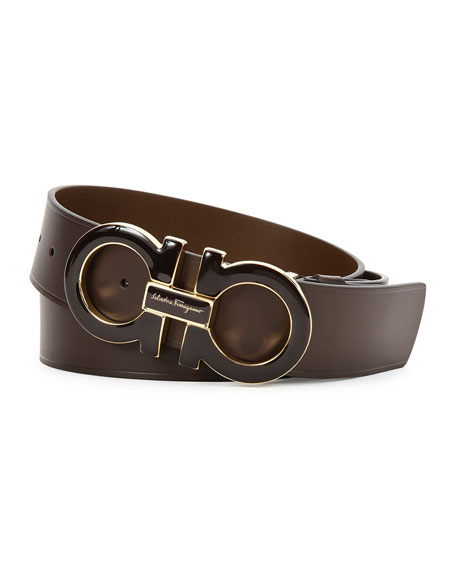 salvatore ferragamo reversible leather belt boxed gift set
