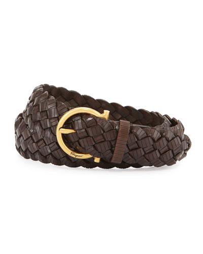 Woven Leather Gancini Belt
