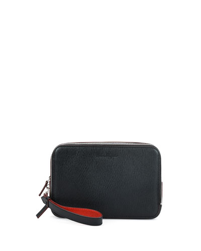 Revival Leather Clutch, Black/Red