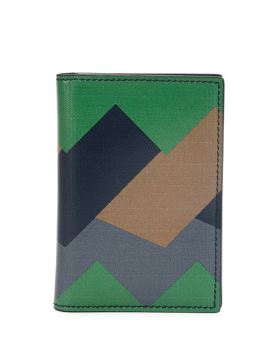 Greca Colorblock Leather Card Case, Green/Navy/Taupe