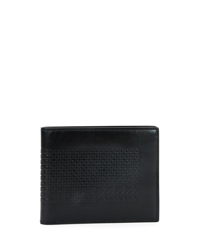 Mini Gancini-Embossed Leather Bifold Wallet, Black