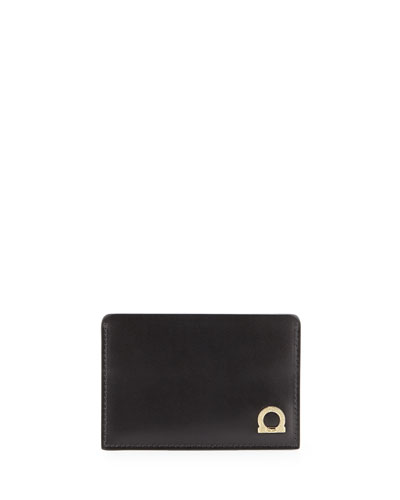 Doppio Gancio Leather Card Case, Black