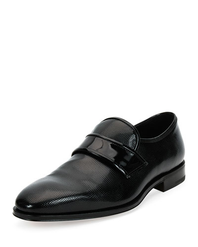 Luis 2 Textured Patent Leather Slip-On Loafer, Black