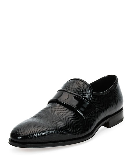Salvatore Ferragamo Luis 2 Textured Patent Leather Slip-On Loafer, Black