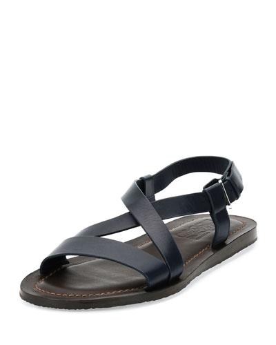 Nostro Crisscross-Strap Calfskin Sandal, Navy/Brown