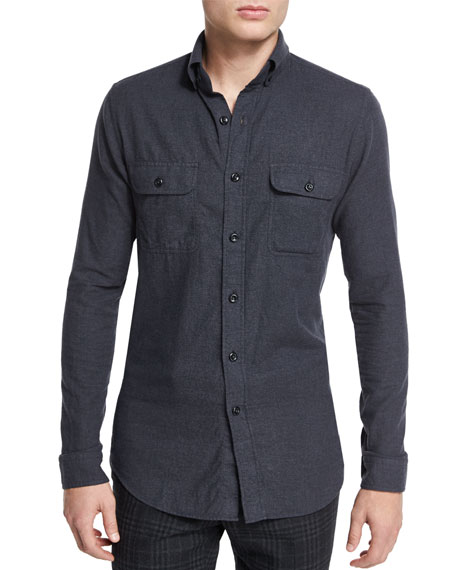 TOM FORD Brushed Twill Tailored-Fit Sport Shirt, Charcoal