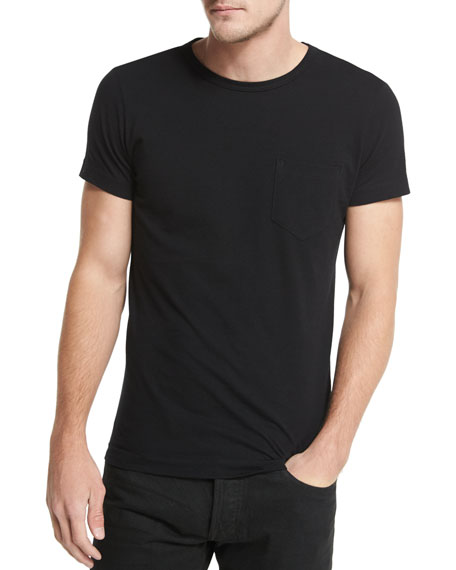 Crewneck Short-Sleeve T-Shirt, Black