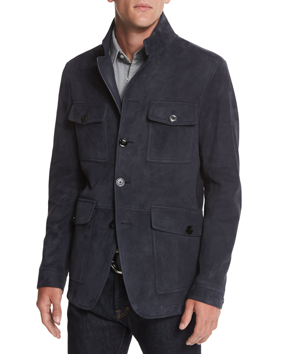 Suede Four Pocket Military Jacket Navy