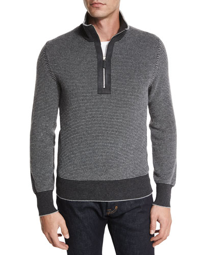 Cashmere Dot-Print Half-Zip Sweater, Gray