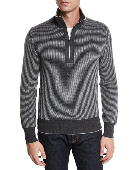 TOM FORD Cashmere Dot-Print Half-Zip Sweater, Gray