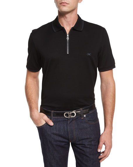 Salvatore Ferragamo Tipped Zip-Front Polo Shirt, Black