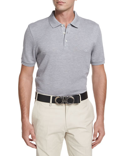 Textured Tonal-Stripe Polo Shirt, Dark Gray