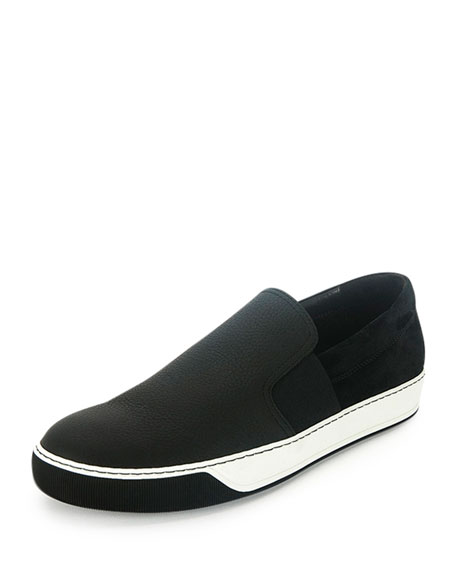 Lanvin Men's Leather Slip-On Sneaker, Black