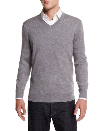 Cashmere-Silk V-Neck Sweater, Gray