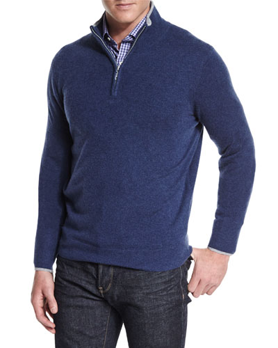 Tipped Half-Zip Cashmere Sweater, Navy