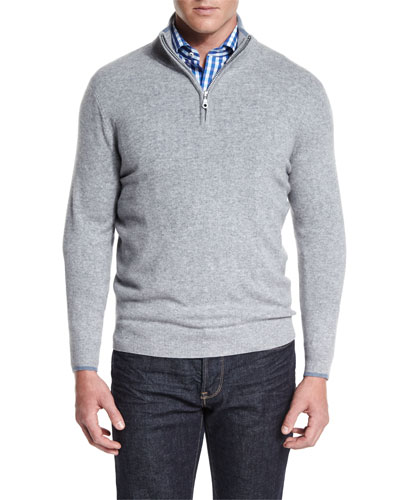 Tipped Half-Zip Cashmere Sweater, Gray