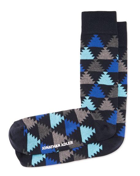 Aztec-Print Socks, Navy