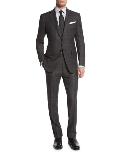 O'Connor Base Tonal Plaid Two-Piece Suit, Gray