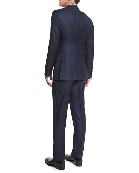 O'Connor Base Sharkskin Two-Piece Suit, Navy