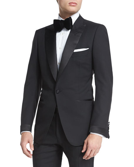 TOM FORD Buckley Base Peak-Lapel Tuxedo, Black