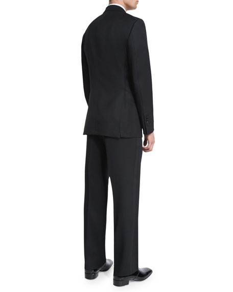 Windsor Base Peak-Lapel Tuxedo, Black