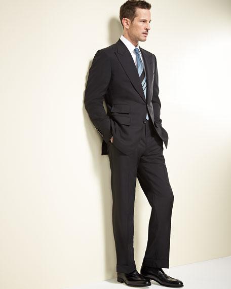 Windsor Base Peak-Lapel Two-Piece Suit, Black
