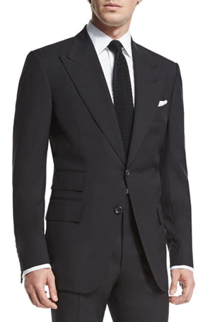 TOM FORD Windsor Base Peak-Lapel Two-Piece Suit, Black