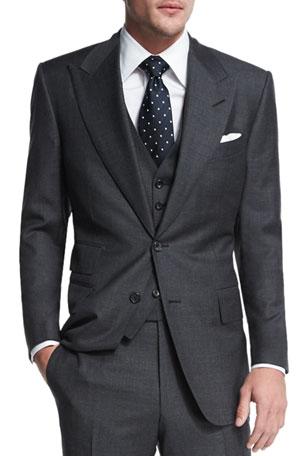 TOM FORD Windsor Base Sharkskin Three-Piece Suit, Charcoal