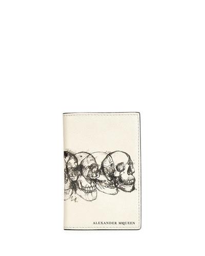 Multi-Skull Graphic Pocket Organizer, Black/White