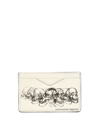 Multi-Skull Leather Card Case, Black/White