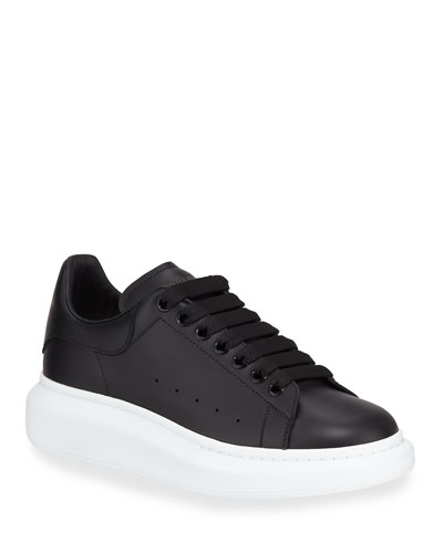 Leather Low-Top Sneaker, White/Black