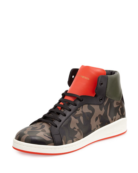 Alexander McQueen Printed Leather High-Top Sneaker, Camo