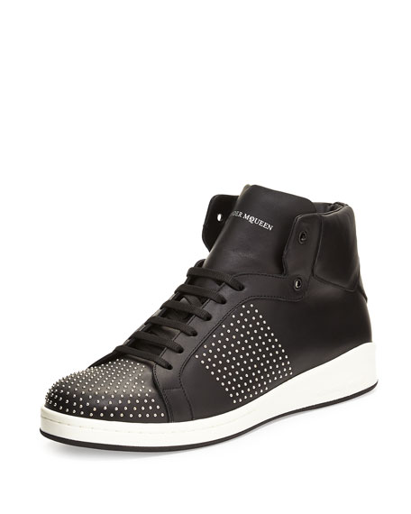 Alexander McQueen Studded High-Top Leather Sneaker, Black
