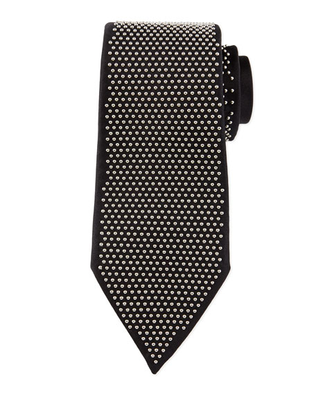 Alexander McQueen Studded Silk Tie, Black