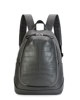 Croc-Embossed Leather Backpack, Gray